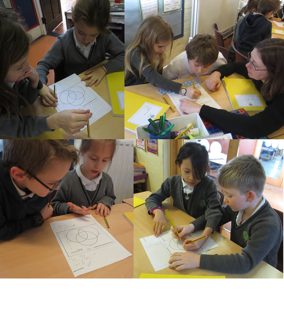 Working together on maths.