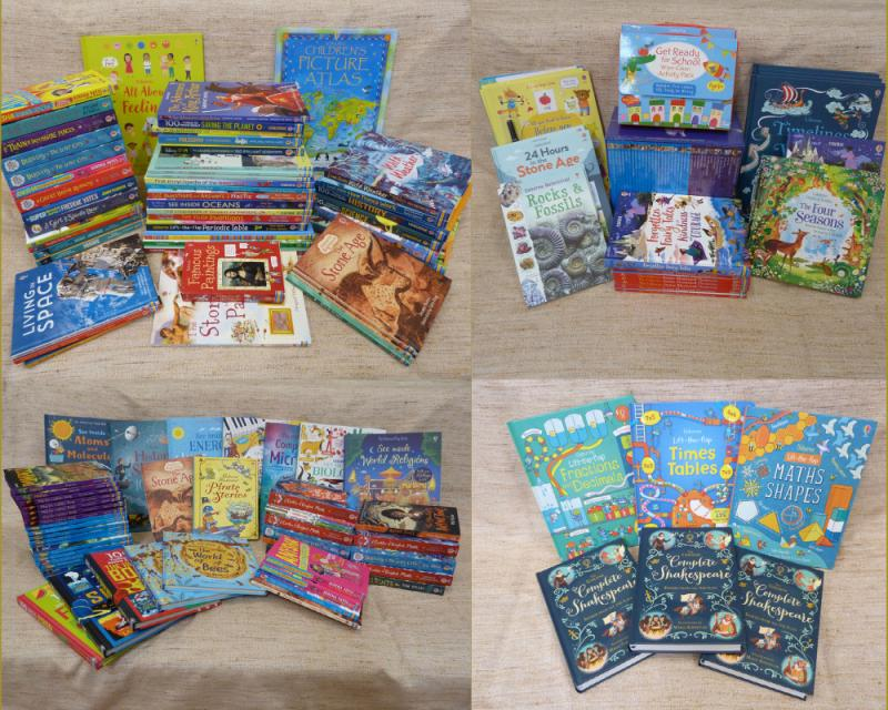 Look how many free books we received after we ordered for classes with sponsored read money and families placed their own orders!