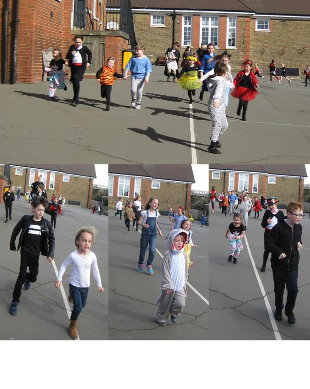 Year 4 and Reception run their daily mile together!