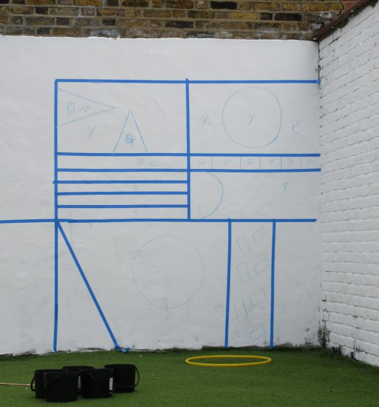 The first part of week 4 painting is marked out.