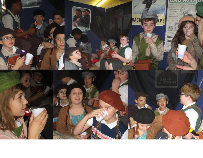 In the air raid shelter, evacuees keep their spirits up with stories, songs and warm Ribena.