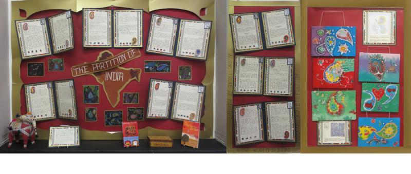 Class 6BH's display inspired by Jamila Gavin's book Out of India set at the time of the partition of India.