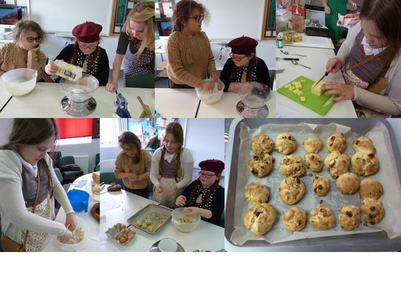 The girls prepare food for the VE party. Mmm! Rock cakes.