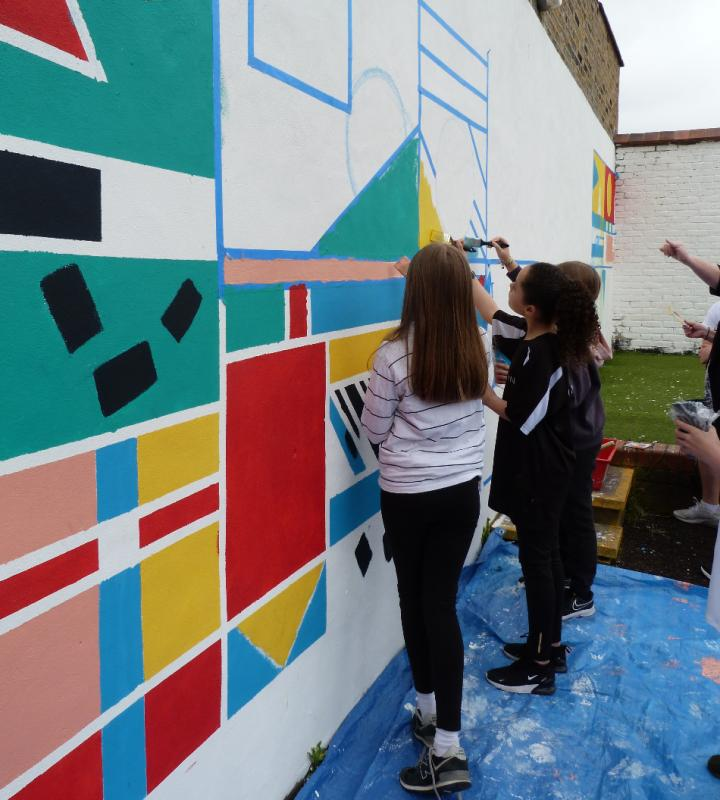 Year 5 had a drier day for their painting on Wednesday.