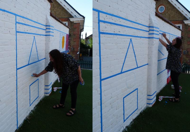 Mrs Huggett was busy again before school, marking out the design.